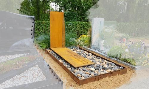 grafsteen cortenstaal met glas