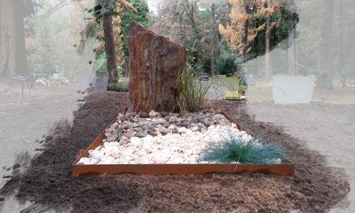 grafstenen cortenstaal versteend hout te Zeist